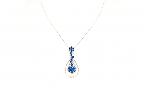 Sapphire and diamond pendant necklace in 14K white gold