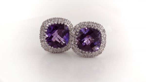 Amethyst and diamond earrings in 14K white gold.