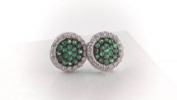 Green tsavorite and diamond earrings in 14K white gold.