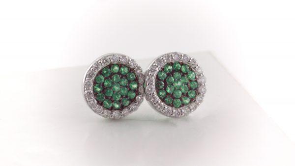 Green tsavorite and diamond earrings in 14K white gold.