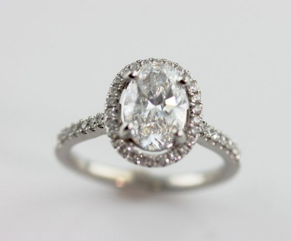 diamond engagement ring at Lake Como proposal in white gold from Barbara Oliver Jewelry
