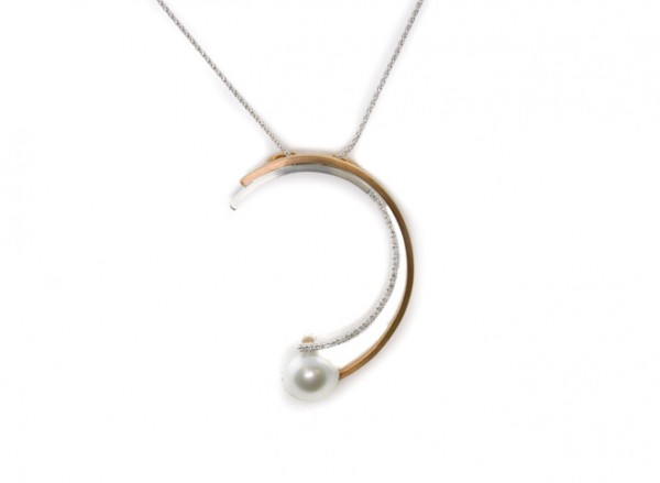 South sea pearl pendant in 14K white and rose gold