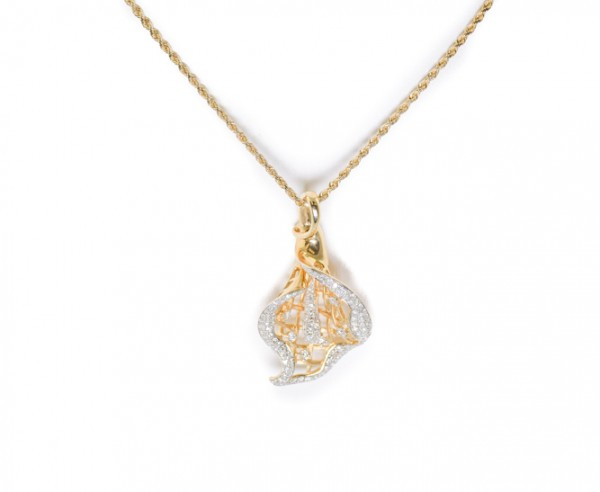 14K yellow gold pendant with diamonds