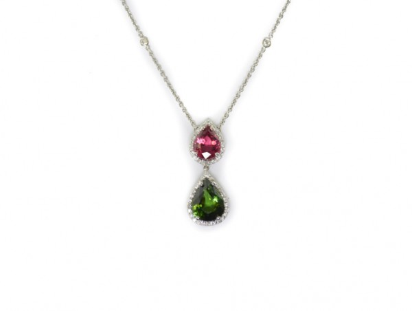 Green and pink tourmaline pendant necklace with diamonds in 18K white gold