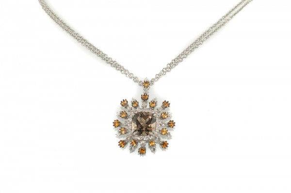 Smoky topaz quartz and diamonds pendant necklace in 18K white gold