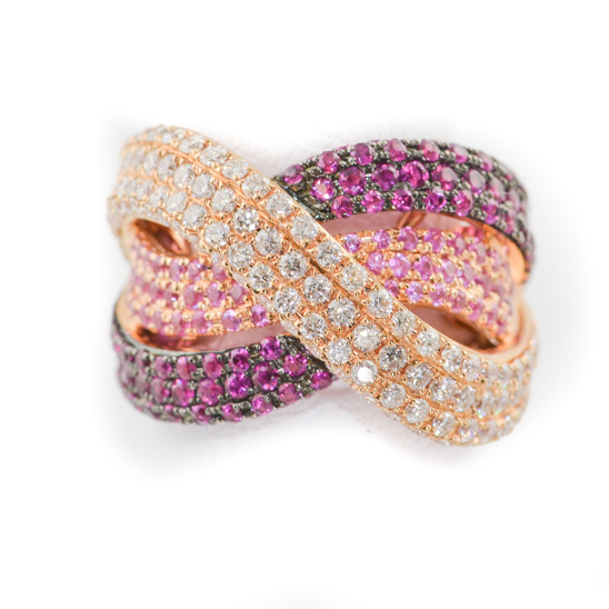 diamond, ruby and pink sapphirering