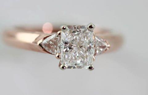 Custom designed 14K rose gold diamond engagement ring