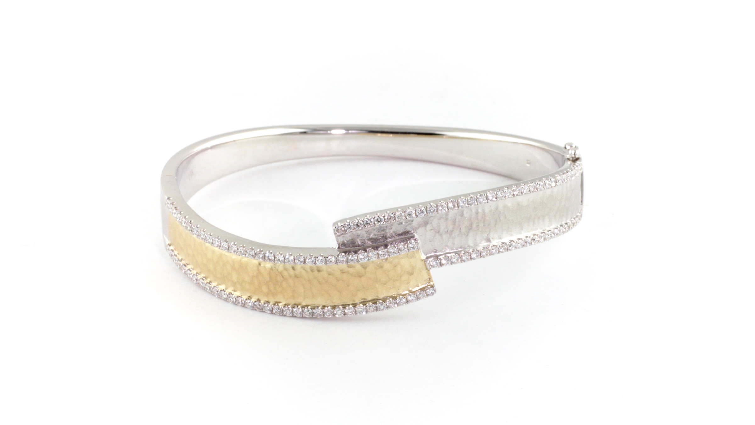 Two tone 14K yellow and white gold diamond bracelet.