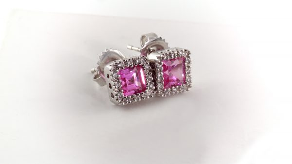 Pink sapphire and diamond earrings in 14K white gold.