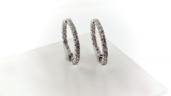Inside outside diamond earrings in 14K white gold.