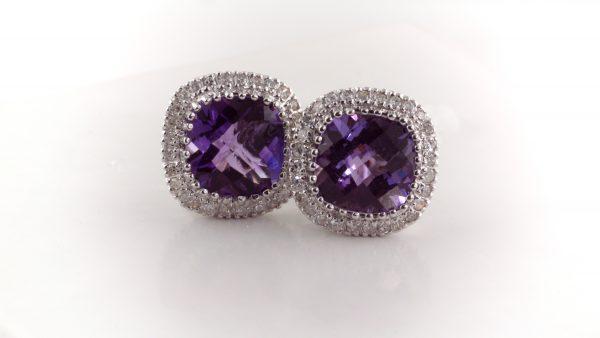 Amethyst and diamond earrings in 14K white gold.