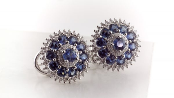 Sapphire and diamond earrings in 14K white gold.
