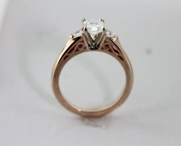Custom designed 14K rose gold diamond engagement ring from Barbara Oliver Jewelry