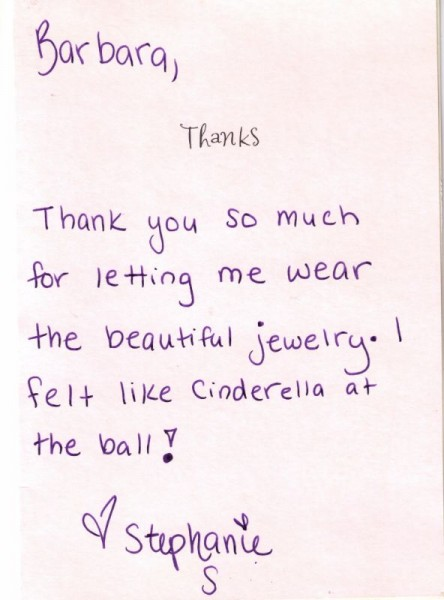 Thank you card to Barbara Oliver Jewelry