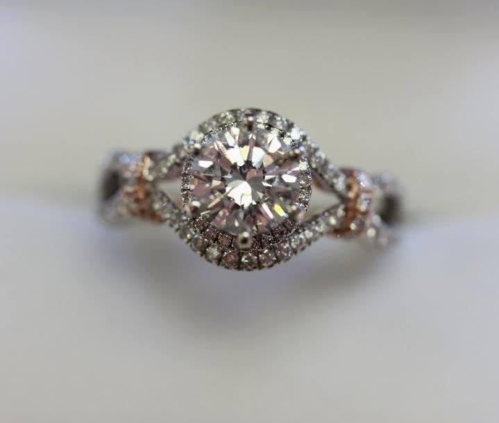 Custom designed 18K white and rose gold diamond ring