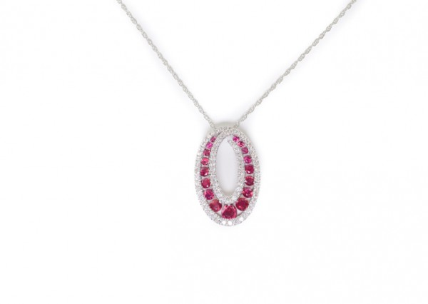 Ruby and diamond pendant necklace in 14K white gold