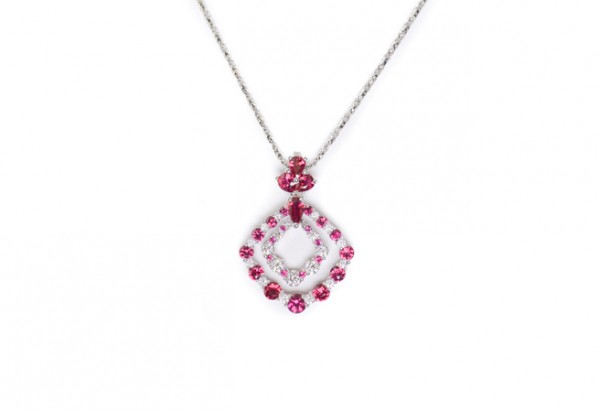 Ruby and diamond pendant necklace in 18K white gold