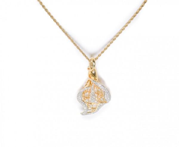 14K yellow gold pendant with diamonds