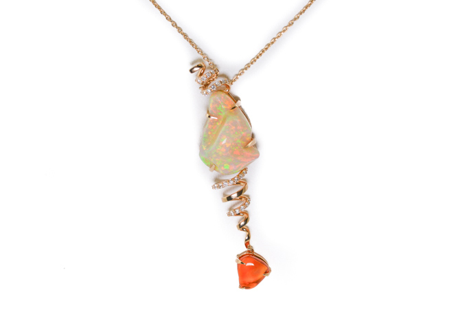 Opal and diamond pendant necklace in 18K white gold