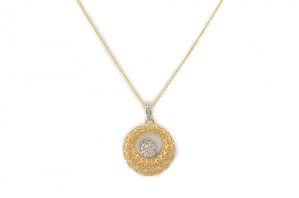 14K yellow gold and diamond pendant necklace