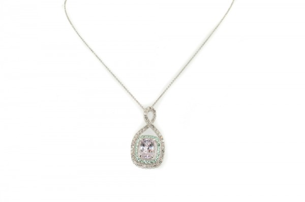 Morganite and tourmaline pendant necklace with diamonds in 14K white gold