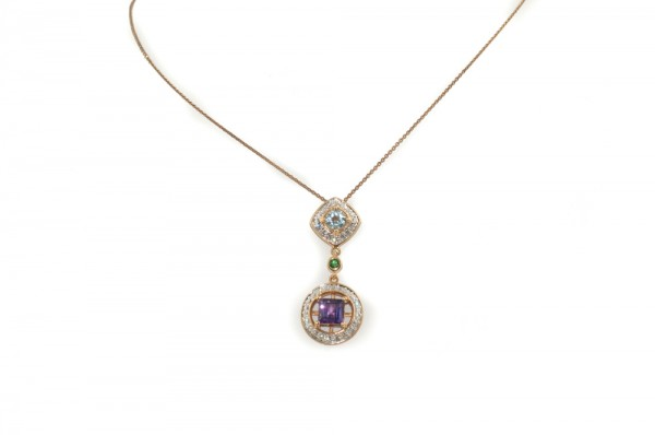 Amethyst, aquamarine, tsavorite and diamond pendant necklace in 14K white gold