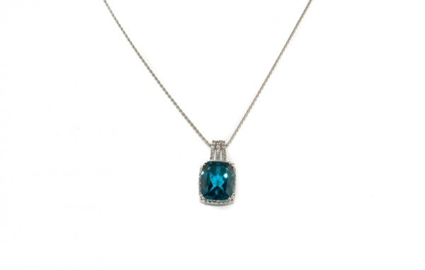 Blue topaz and diamond pendant necklace in 14K white gold